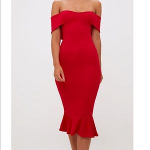 NWT Red Bardot Frill Hem Midi Dress-4